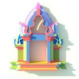 3D av den sydostliga asiatiska främre sikten för paviljong eller för tempel Royaltyfri Fotografi