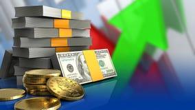 3d av pengarbunten Arkivbilder