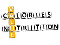 3D avalia palavras cruzadas da nutrição das calorias Imagem de Stock Royalty Free