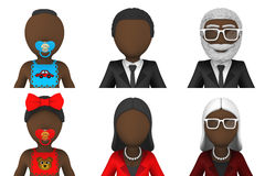 3d avatars of african people. 3d icon set Royalty Free Stock Photography