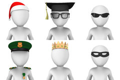 3d avatars biali człowiecy Fotografia Stock