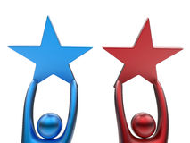 3D avatars holding stars. 3D rendered illustration of two 3D avatars holding stars. The two avatars are colored in red and blue and are  on a white background Stock Photo