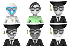 3d avatars of scientists. Set of six 3d avatars. Different age scientists Stock Photography