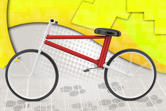 3d avec l'illustration de vélo de cascade Images libres de droits