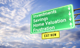 3d: Avvertimento del segnale stradale della pianificazione finanziaria carente Immagine Stock