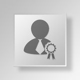 3D Award icon Business Concept. 3D Symbol Gray Square Award icon Business Concept Royalty Free Stock Images