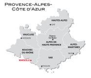 D'Azur simples da Provence-Alpes-costa do mapa administrativo ilustração do vetor