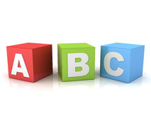 3d a b c letters on red green blue boxes  over white background. With reflection Stock Photography