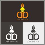 D and B logo with scissor shape. Letter d and letter b with scissor shape for barber logo Royalty Free Stock Photo