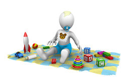 3d baby boy with toys. On carpet. 3d illustration Stock Photo