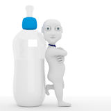 3d Baby. Children 3d character with bottles in the background Stock Photography