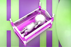 3d baby cradle illustration Stock Image