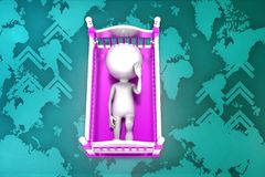 3d baby cradle illustration Royalty Free Stock Photos