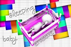 3d baby cradle Stock Images