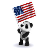 3d Baby panda bear carrying the Stars and Stripes. 3d render of a baby panda bear carrying the American flag Royalty Free Stock Photography