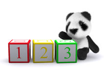 3d Baby panda bear with counting blocks Royalty Free Stock Images