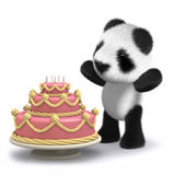 3d Baby panda bear has a lovely birthday cake. 3d render of a baby panda bear with a cake Royalty Free Stock Photo