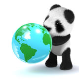 3d Baby panda bear looks at a globe of the Earth Stock Images