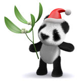 3d Baby panda bear with mistletoe and Santa hat Stock Image