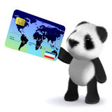 3d Baby panda bear pays with a debit card. 3d render of a baby panda bear holding a debit card Stock Photography