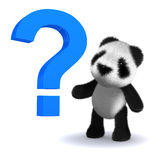 3d Baby panda bear with a question mark Stock Photo