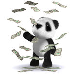 3d Baby panda bear wins loads of money. 3d render of a baby panda bear in a windfall of US Dollars Royalty Free Stock Photography