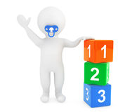 3d baby person with pacifier and toy cubes Royalty Free Stock Images