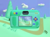 3d back side camera cartoon style display show photo nature landscape 3d render travel nature concept stock illustration