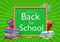 3d back to school background. 3d welcome back to school background with color pencils, calculator, trophy and books Stock Photos