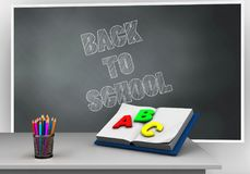 3d back to school. 3d illustration of blackboard with back to school text and opened textbook Stock Photo
