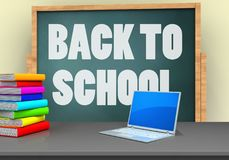 3d back to school. 3d illustration of board with back to school text and computer Stock Photography