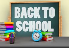 3d back to school. 3d illustration of board with back to school text and alarm clock Royalty Free Stock Images