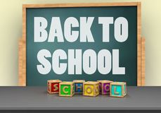 3d back to school. 3d illustration of board with back to school text and letters cubes Stock Images