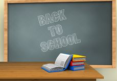 3d back to school. 3d illustration of chalkboard with back to school text and books Stock Photos
