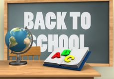 3d back to school. 3d illustration of chalkboard with back to school text and opened textbook Royalty Free Stock Photos