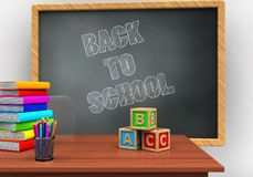 3d back to school. 3d illustration of grey chalkboard with back to school text and abc cubes Stock Photo