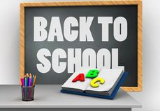 3d back to school. 3d illustration of grey chalkboard with back to school text and opened textbook Stock Photography