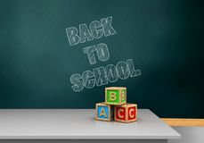 3d back to school. 3d illustration of schoolboard with back to school text and abc cubes Royalty Free Stock Photography