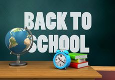 3d back to school. 3d illustration of schoolboard with back to school text and alarm clock Stock Photography