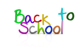 3d back to school. Illustration written in different colors on a white background Stock Photo