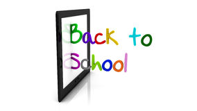 3d back to school tablet. Illustration written in different colors on white background Stock Images