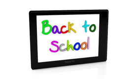 3d back to school tablet. Illustration written in different colors on white background Stock Image