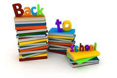 3d back to school text and books. On white background Stock Photography