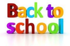 3d back to school text. On white background Stock Photography