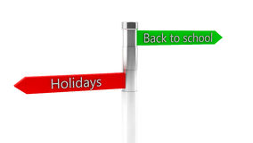 3d back to shool and holidays sign Stock Images