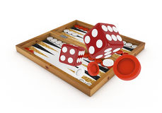 3d Backgammon and Dices -  Royalty Free Stock Photos