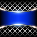 3D background blue. 3D background with blue metal banner, vector illustration Royalty Free Stock Photos