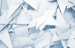 3d background with chaotic triangle polygonal pattern. Abstract white and blue 3d background with chaotic triangle polygonal pattern Royalty Free Stock Photos