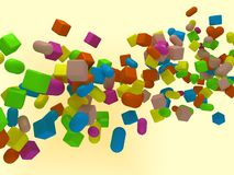 3D background with cubes and capsules. 3d background with flying and spinning cubes and capsules Royalty Free Stock Photo