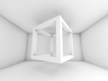 3d background illustration with flying empty beam cube. Abstract white room interior. 3d background illustration with flying empty beam cube Royalty Free Stock Photos